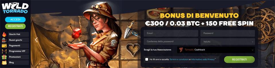 150 giri gratis su wild tornado casino