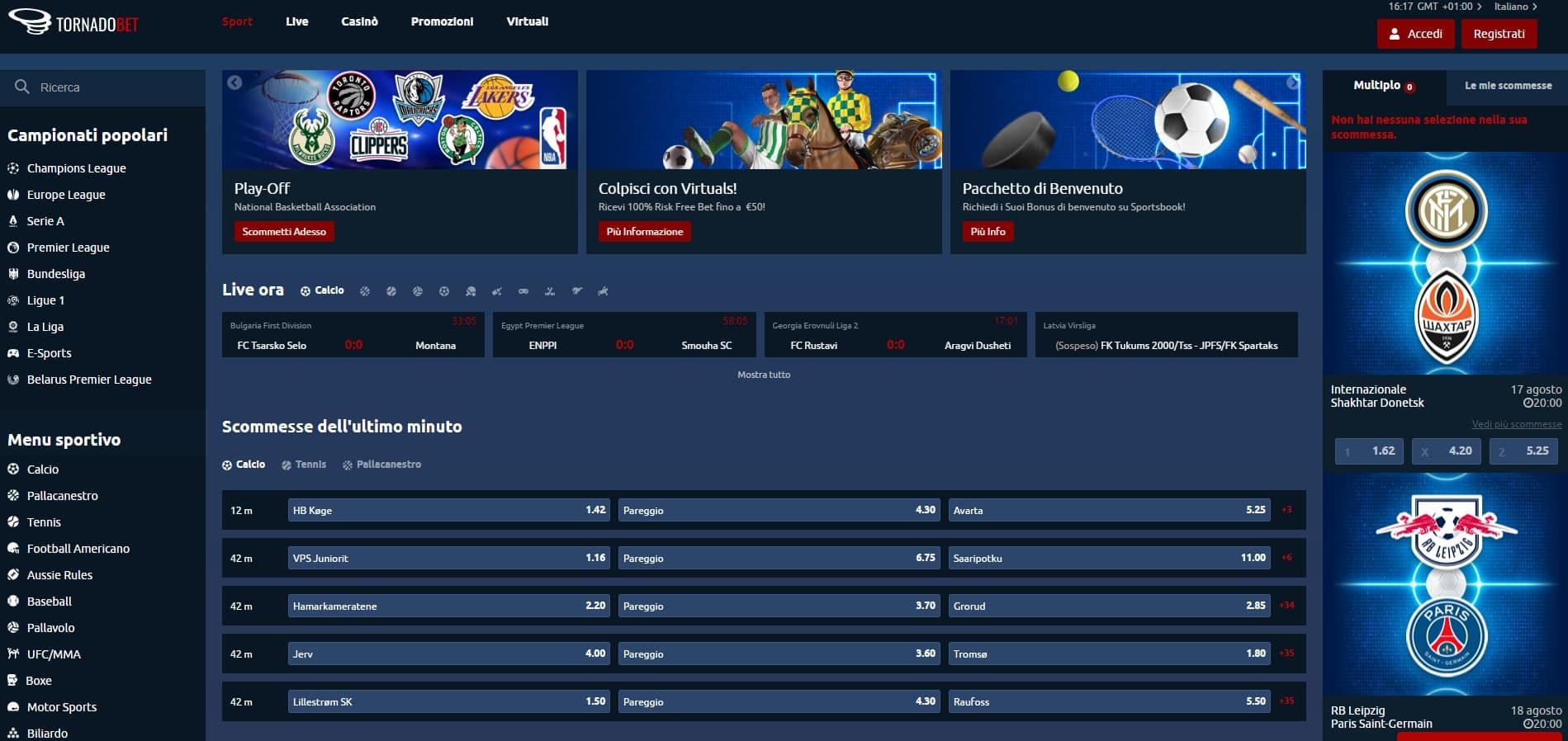 piattaforma scommesse sportive tornado bet recensioni