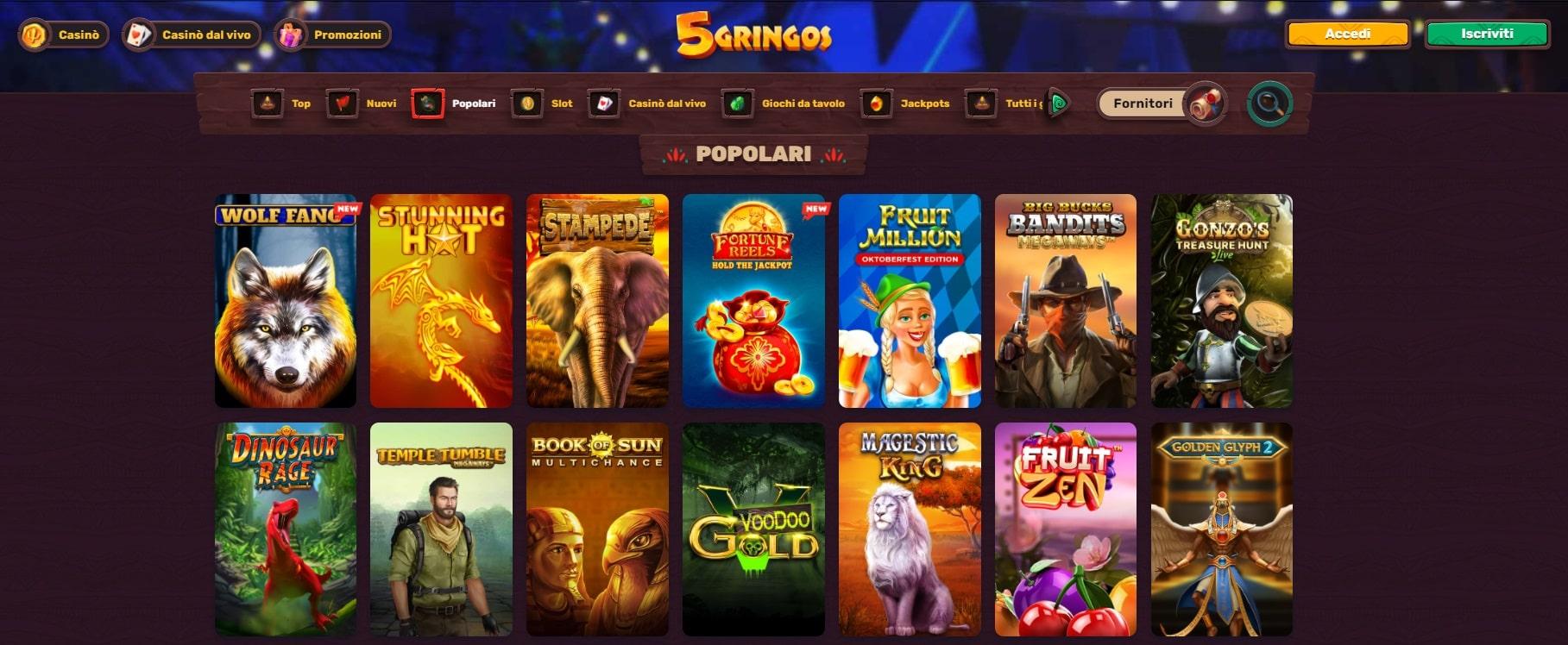 giochi casinò online 5 gringos